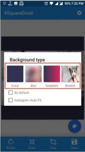 • Now select the background type as you want to choose.