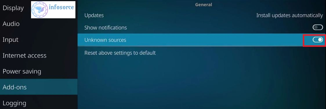 how kodi enable to unknown sources