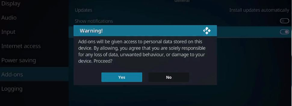 kodi enable to unknown sorce